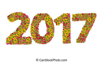 Numbers 2017 made from Zinnias flowers isolated on white background with clipping path. Happy new year concept