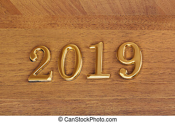 Numbers 2019 on door - new year background