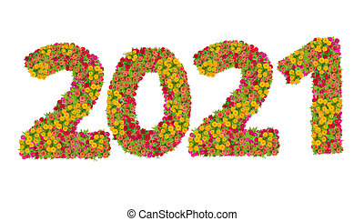 Numbers 2021 made from Zinnias flowers isolated on white background with clipping path. Happy new year concept