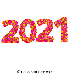 Numbers 2021 made from Zinnias flowers