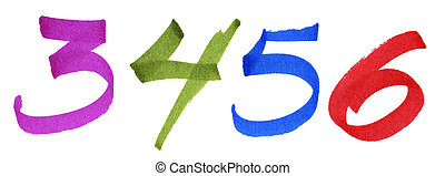 Numbers 3-6 on white