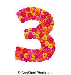 Numbers 3 made from Zinnias flowers