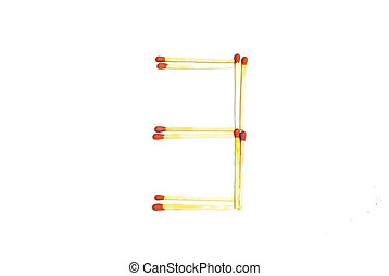 Numbers 3 made of matches on a white background
