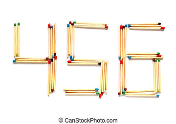 Numbers 4 5 and 6 made of matches