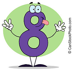 numbers-8, divertente, cartone animato