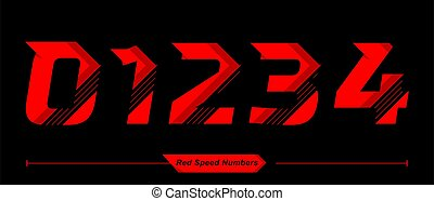 Numbers Abstract Red Speed style in a set 01234