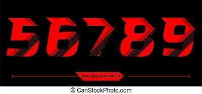 Numbers Abstract Red Speed style in a set 56789