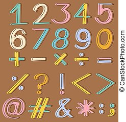Set of numbers and mathematical operations on a brown background