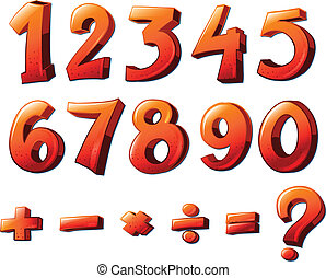 Numbers and mathematical symbols - Illustration of the...