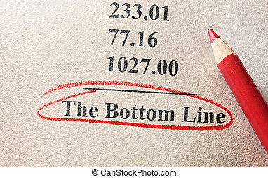 numbers and pencil with The Bottom Line circled
