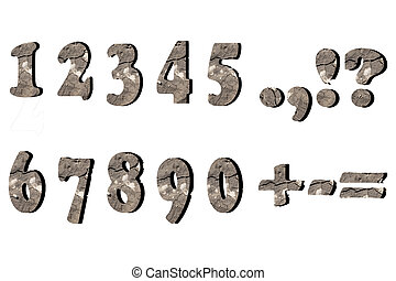 Numbers and signs with cracks on white background