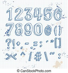 Numbers and symbols on notebook