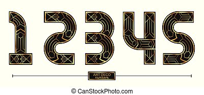 Numbers Art Deco style in a set 12345