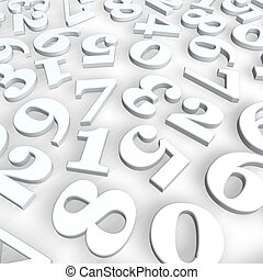 numbers background - disorder of numbers on white background...