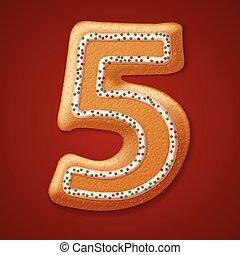 numbers., biscoitos, vetorial, natal, ilustração
