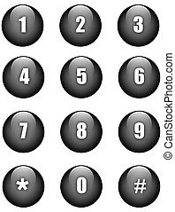 Numbers buttons - Aqua numbers black round buttons