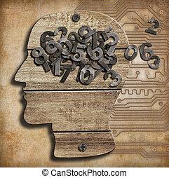 numbers., cérebro, cheio, loss., memória