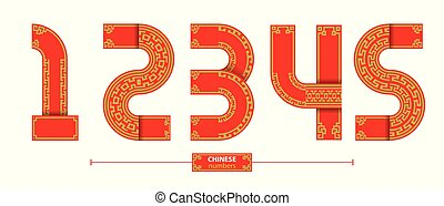 Numbers chinese style in a set 12345