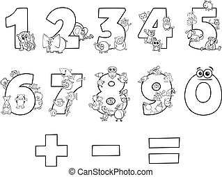 numbers collection with cartoon animals