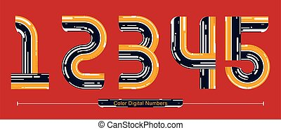 Numbers Color Digatal style in a set 12345
