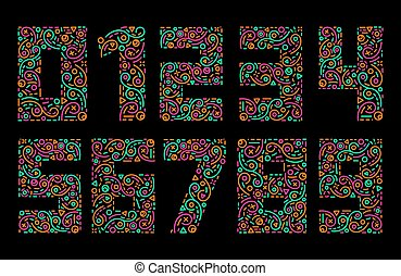 Numbers colourful set in line style. Vector elements...