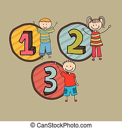 numbers design over beige  background vector illustration