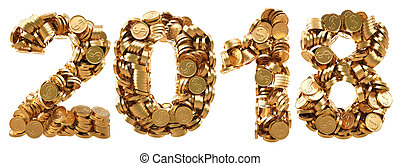 numbers - new 2018 year from the golden coins. isolated on...