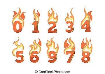 numbers., ensemble, flamboyant, vecteur, icônes