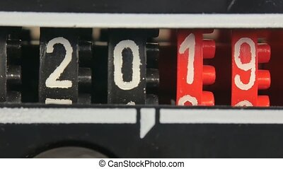 numbers., ensemble, timer., compteur, année, 2019, compte rebours, 2020, numérique, nouveau