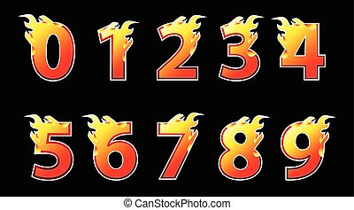 Numbers fire logo design. - Numbers fire design template. ...