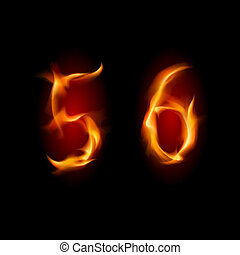 Two alphabet symbol of fire - numbers five and six. Illustration on white background