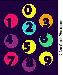 Numbers From 0 till 9 Color Sample Isolated Black