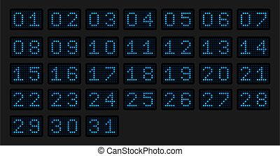 Numbers from 1 to 31 for a calendar or sports event in the form of an electronic scoreboard in a blue glow