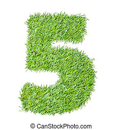 numbers from the green grass, isolated on white