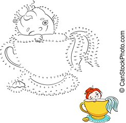 Numbers game for children. Connect the dots. Cute mermaid in a cup of tea illustration.