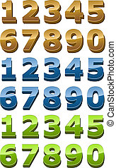 Numbers icon set, 3d glossy smooth style, gold, green, blue ...