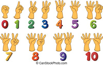 Numbers - Illustration of a set of number zero to ten