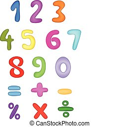 Numbers - Colorful vector numbers set