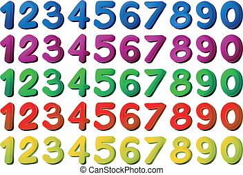 Numbers in different colors - Illustration of the numbers in...