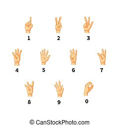Numbers in hand sign language isolated on white