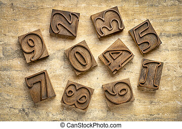numbers in letterpress wood type