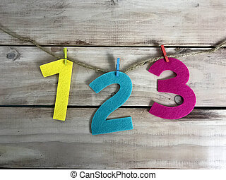 Numbers in Wood Background. Photo image