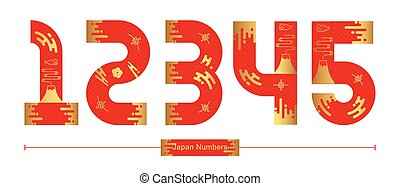 Vector graphic numbers in a set 1,2,3,4,5, with Japan font style