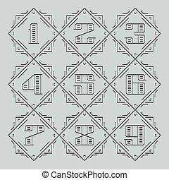 numbers., linie, vektor