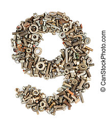 numbers made of bolts - nine