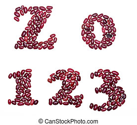 Numbers made of red kidney beans