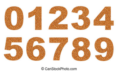 Numbers, made of wheat grains