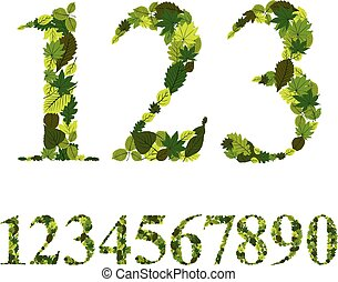 Numbers made with leaves, floral numerals set, vector ...