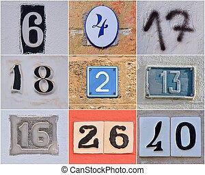 numbers., maison, différent