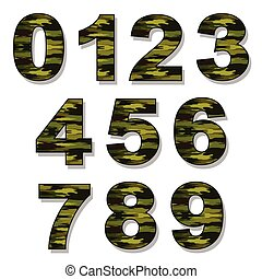 Green camouflage numbers  army font, military alphabet
